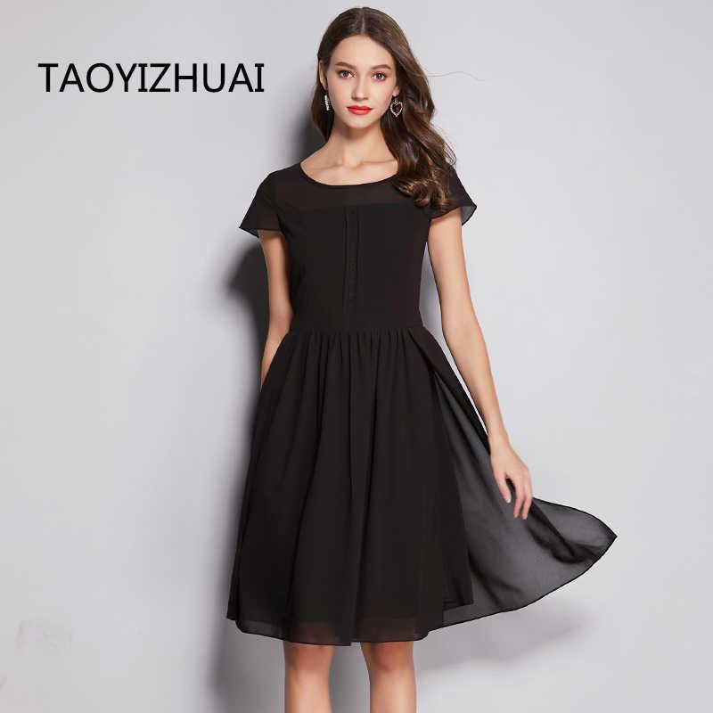 TAOYIZHUAI Sommer Neue Ankunft Mode Schwarz solide O-ansatz Kurzen Ärmeln Einfache Casual Style Plus Größe Lose Frauen Kleid 11750