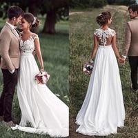 Smileven Beach Lace Appliques Wedding Dress Cap Sleeves White Ivory Bride Dresses Train Elegant Wedding Bridal Gowns 2019