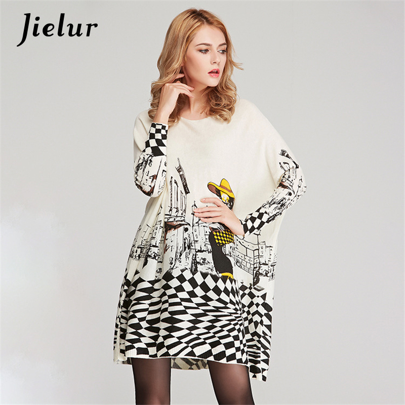 Jesen New Cute Cartoon Print Pulover za ženske Casual Loose Batwing rokav Lady Long pulover Pulover Fashion Ženska oblačila