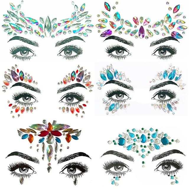7a63709372d 1pc Christmas Diy Eyebrow Face Body Art Adhesive Crystal Glitter