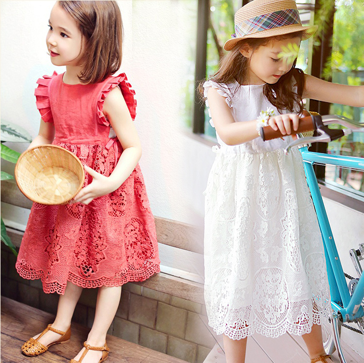 2018 Kids Girls Dress New White Pink Toddler Girls Summer Lace Dress Princess Birthday Party Dress Children Clothing Vestidos 14 цена
