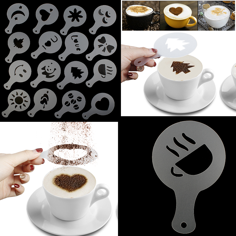 16Pcs Coffee Latte Art Stencils DIY Decorating Cake Cappuccino FoamTool CN (Color: White)