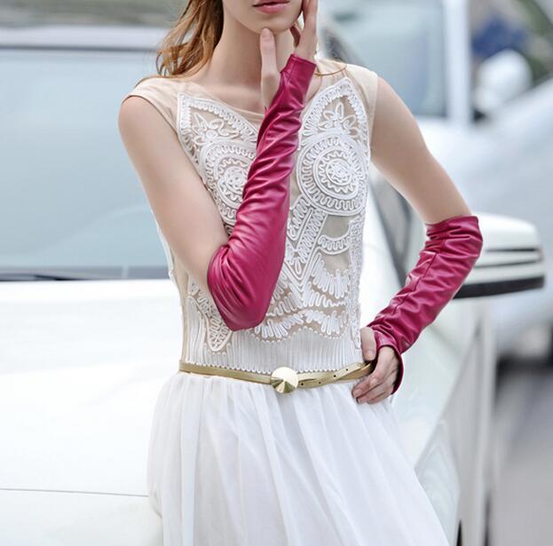 Spring and autumn women s sunscreen gloves female winter half finger genuine leather sheepskin leather gloves