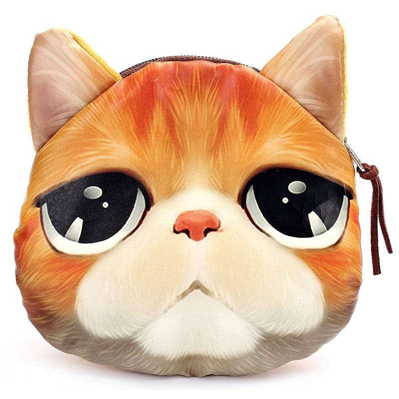 FGGS Hot 3D Dog Cat Face Print 8 types Mini Coin Bag Wallet Pocket Women Purse Eye Zip Pouch Handbag fggs hot chinese silk embroidery wallet change coin bag handbag small purse pouch random