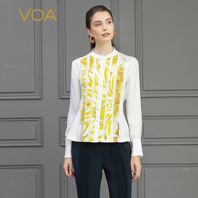 VOA плотная шелковая блузка белая Базовая офисная рубашка желтые полосатые женские топы тонкие осенние с длинным рукавом Формальные женские