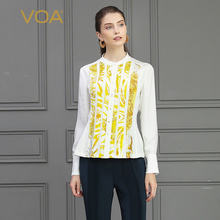 cfc5cac1 VOA Heavy Silk Blouse White Basic Office Shirt Yellow Striped Ladies Tops  Slim Autumn Long Sleeve