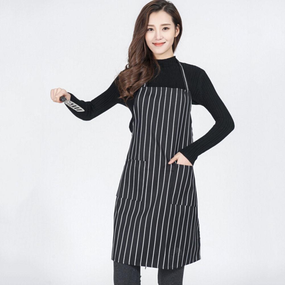 White apron meals - Adjustable Black And White Stripe Bib Apron With 2 Pockets Chef Waiter Kitchen Cook Kitchen Apron Wholesale 1pcs