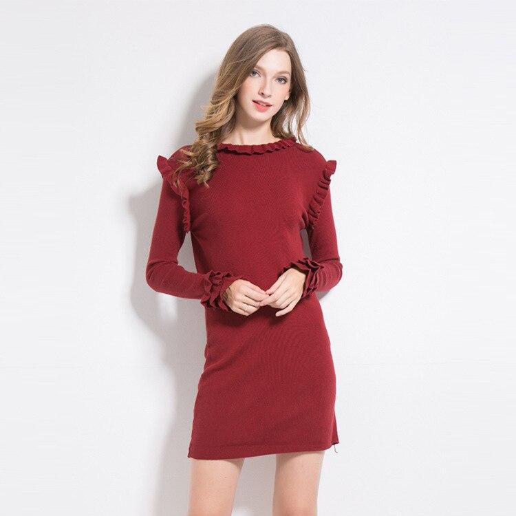 Elastic knit basic sweater dress 2017 new brand runway women autumn winter dress top quality fashion solid slim straight dress