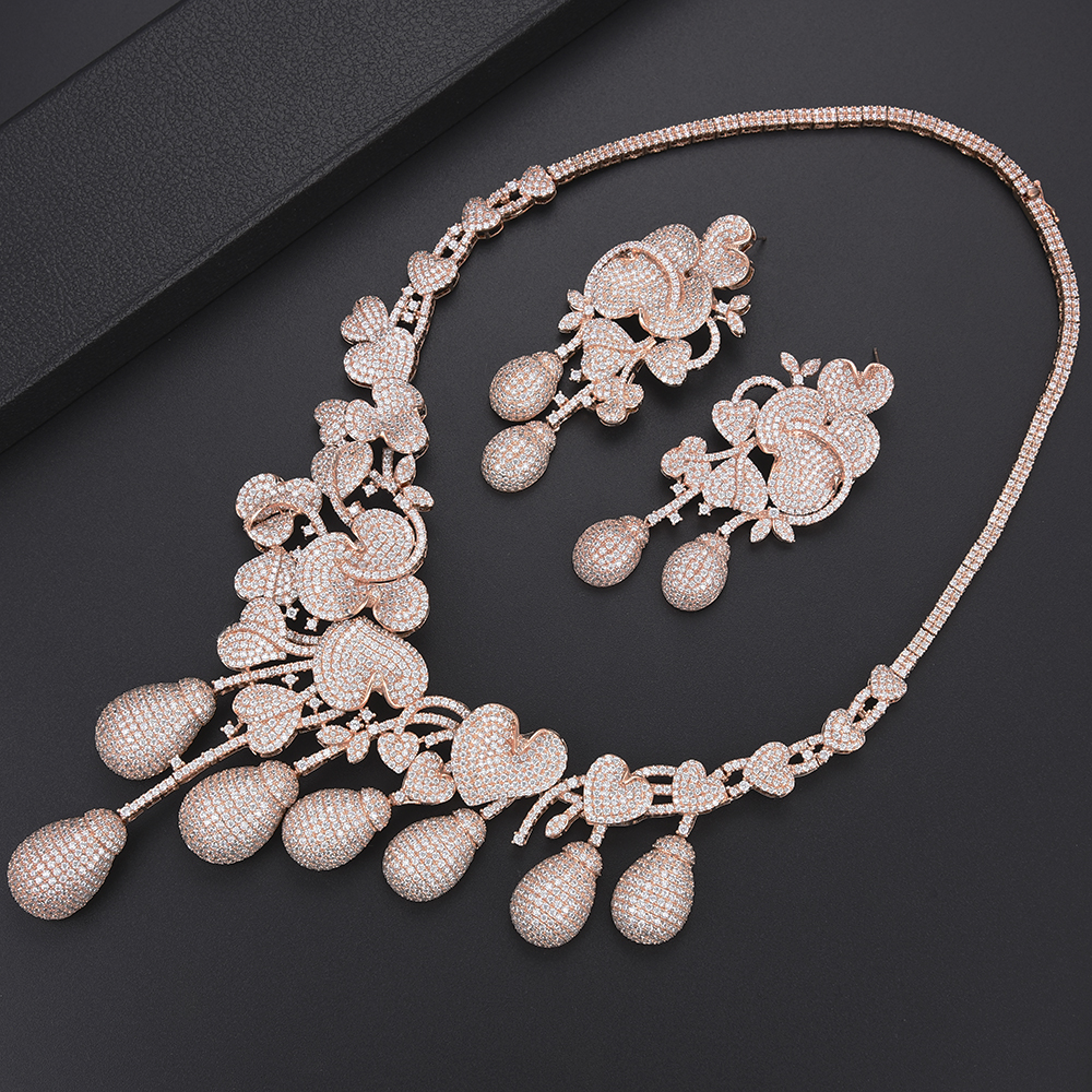 missvikki Nigerian Wedding African Bead Jewelry Sets Flowers Water Drop Crystal Bangle Earrings Necklace Ring for Women Wedding