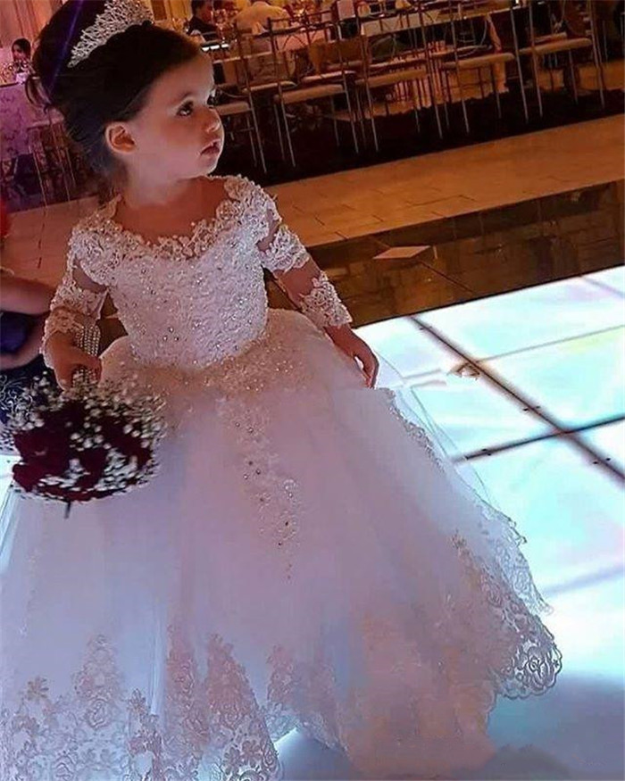 New Cute Baby Girls Party Dresses Bow Sash O-Neck Long Sleeves Solid Ball Gown Girls Dresses for Wedding White/IvoryNew Cute Baby Girls Party Dresses Bow Sash O-Neck Long Sleeves Solid Ball Gown Girls Dresses for Wedding White/Ivory