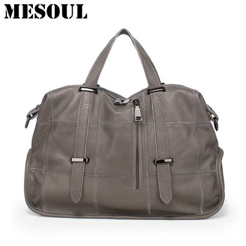 Famous Brand Bags Female Genuine Leather Plaid Tote Bag Gray Women Shoulder Bag Casual Travel Designer Handbags High Quality