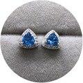 Искусство ювелирные изделия природный кристалл синий треугольник клевера S925 Серебряной Инкрустацией Серьги высокий
