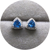 Art jewelry natural crystal blue triangle clover S925 Silver Inlay Earrings tall