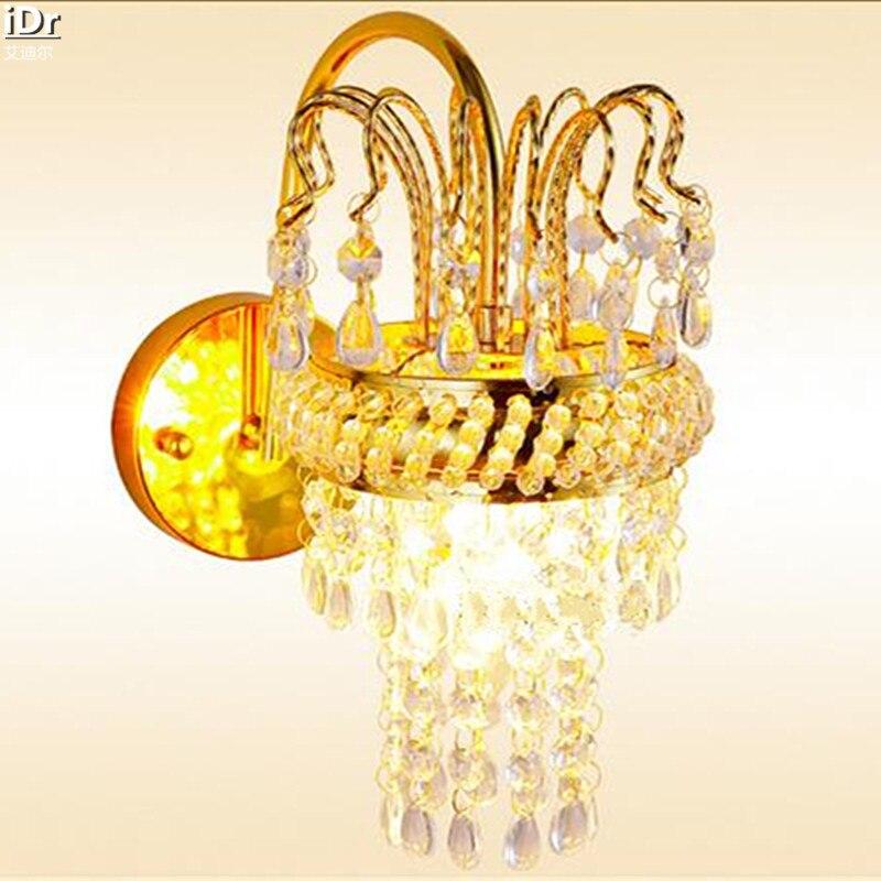 Мода кристалл золотой гостиная спальня ночники современный отель проекта Настенные Светильники OLU-0026