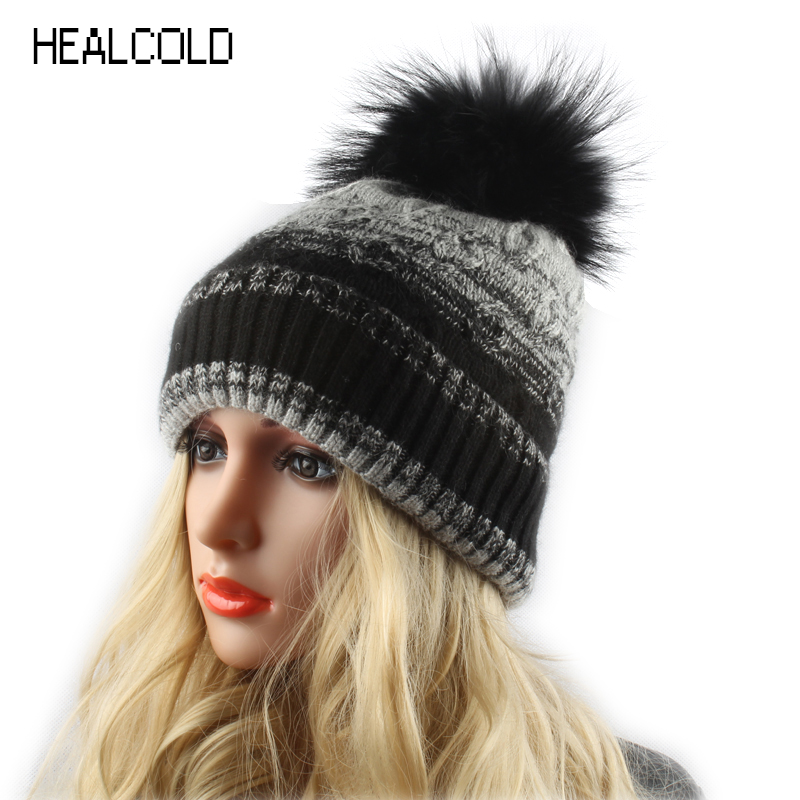 59faa5de452 Patchwork Knitted Wool Skullies Pom poms Beanies Winter Mink Fur Hats For Women  Ladies Fur Caps