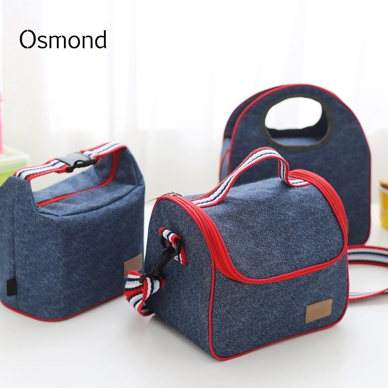 2018 Fashion Portable Insulated Denim Bags Thermal Food Picnic Women Kids Men Thermal Cooler Lunch Box Moms Bag