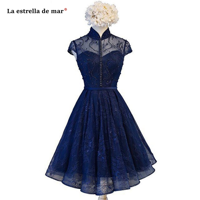 Robe demoiselle d'honneur2019 new high neck lace beaded short sleeve A Line navy blue burgundy   bridesmaid     dresses   short
