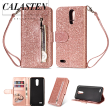 Luxury Bling Glitter Case For LG K10 2018 Leather Wallet Phone Flip Cover K8 2017