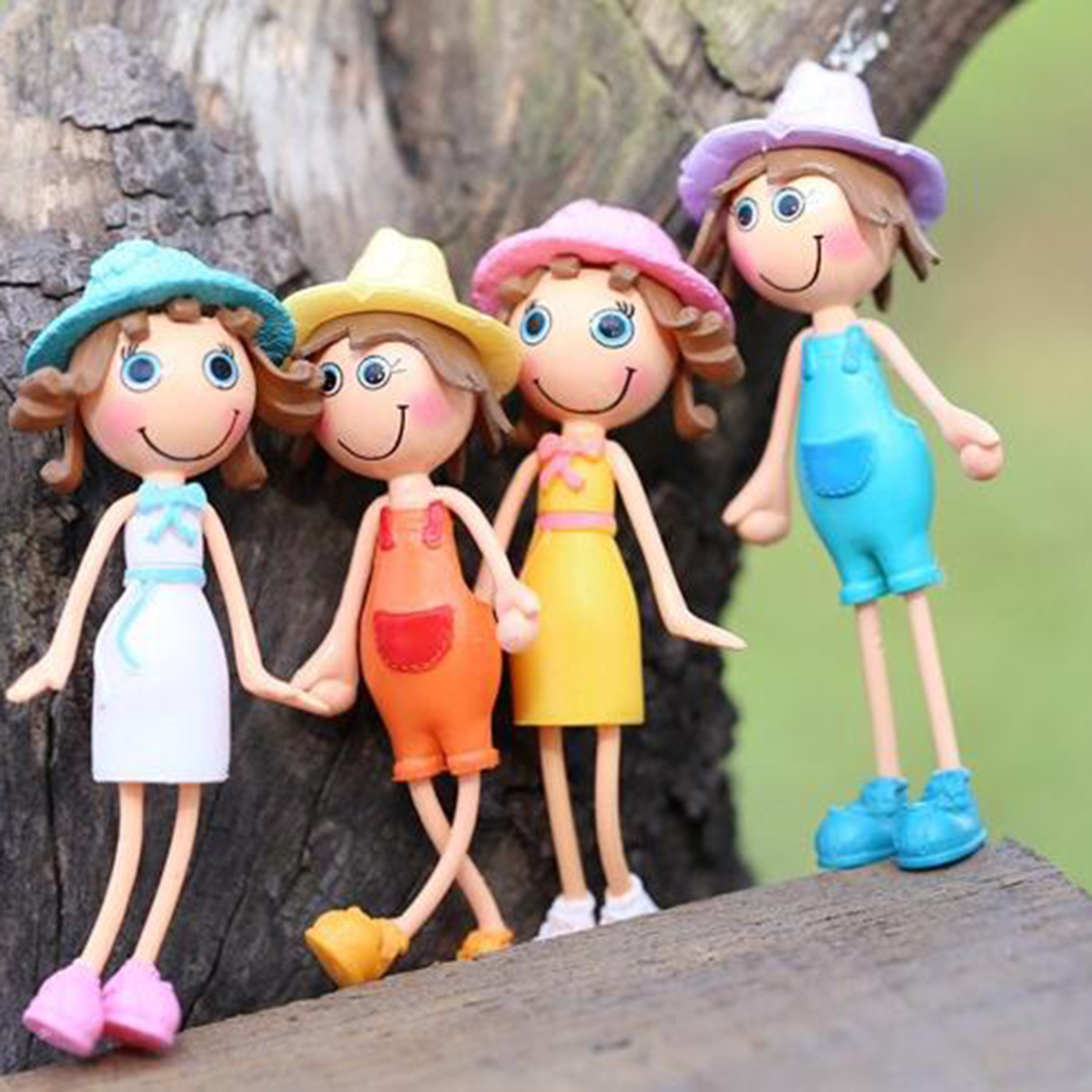 2016 Super Hot Lovely Small Summer Sunshine Girl Doll Cartoon Figurines Gardening Ornament Home Decoration Accessories