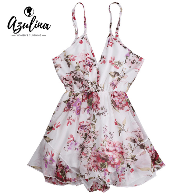 ZAFUL Summer Holiday Floral Print Women Romper Jumpsuit Sexy Flower Chiffon Cami Strap Beach Romper Playsuit Overalls 2019 New 5