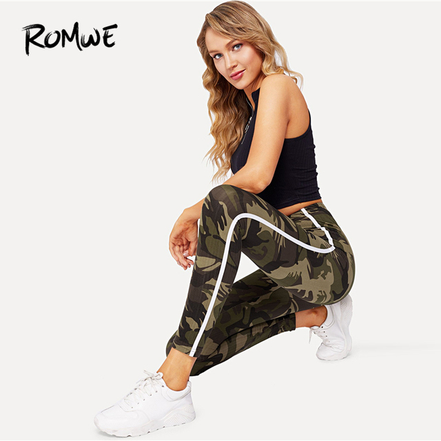 db2a88d48a8 ROMWE Camouflage Striped Side Skinny Leggings Bottoms Autumn Women Casual  Pants Female Spring Multicolor Sporty Crop