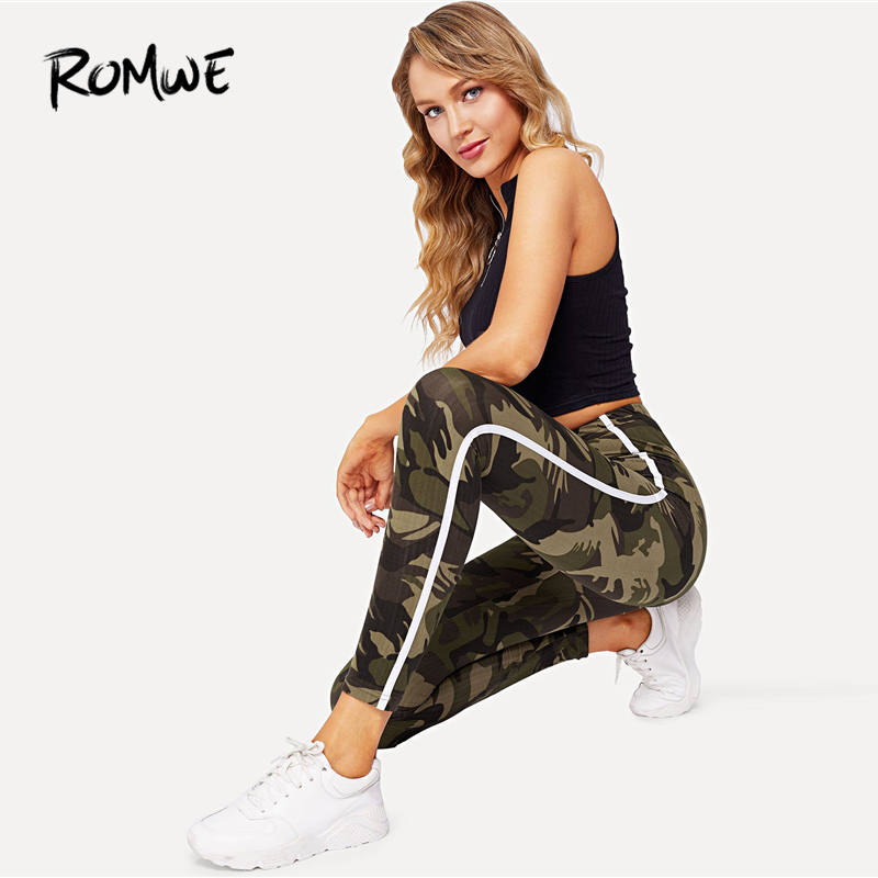 ROMWE Camouflage Striped Side Skinny   Leggings   Bottoms Autumn Women Casual Pants Female Spring Multicolor Sporty Crop   Leggings