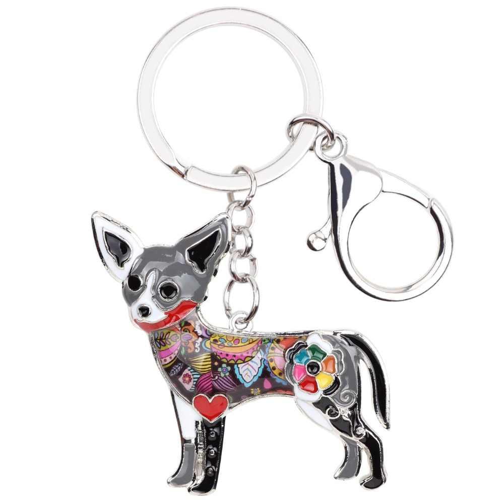 Weveniエナメルチワワ犬キーチェーンキーリングお土産ギフト用女性バッグチャーム新しいファッション動物ジュエリーキーホルダーアクセサリー