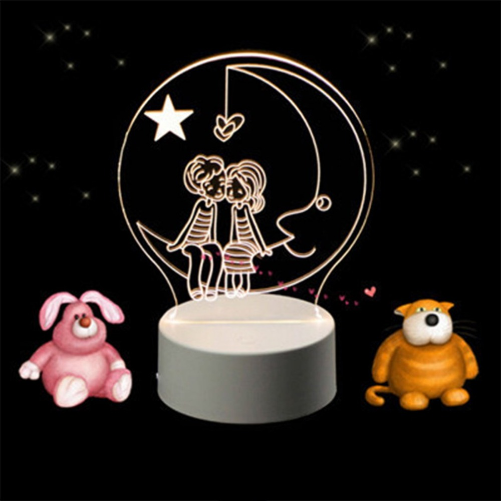 Acrylic 3D Small LED Night Lights Colorful Cartoon Animals 3 Modes Stereo Nightlight Creative Gifts 3D Led Lamp