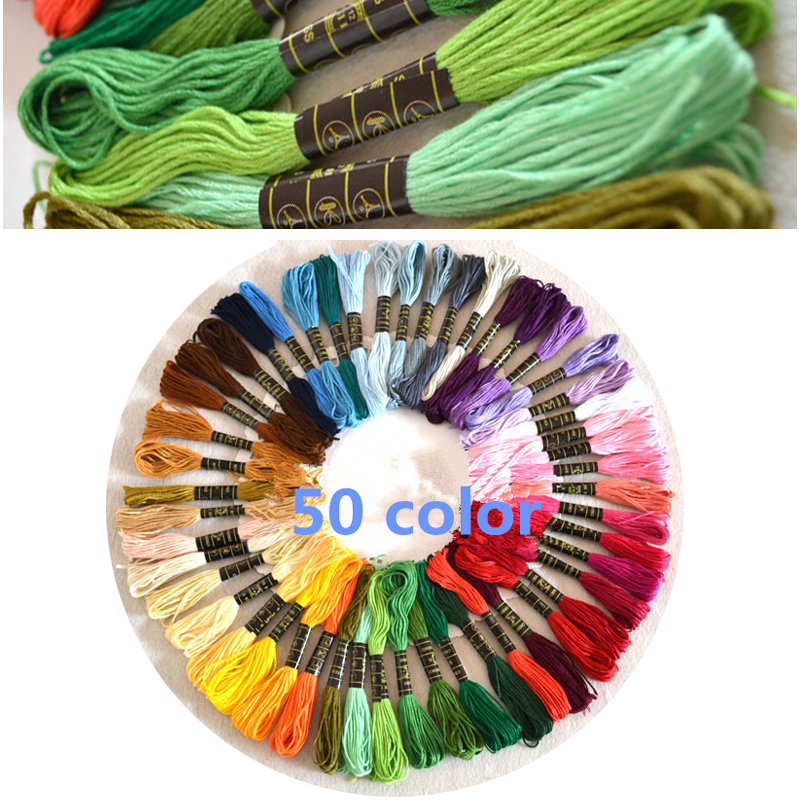 50 Colores Mezclados Cruz Puntada hilo De Algodón Bordado Hilo Madejas Kits de costura