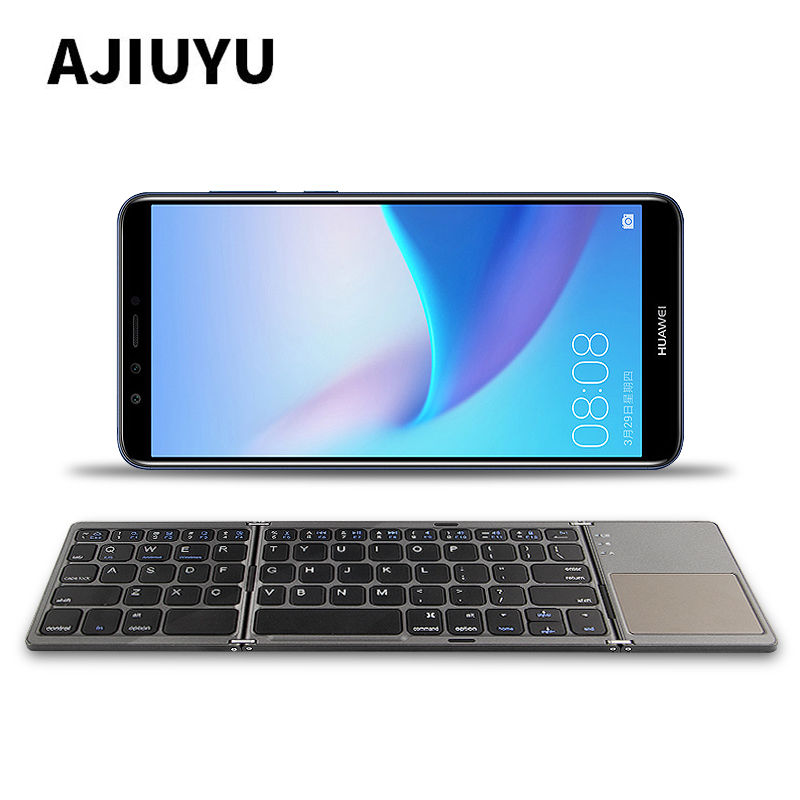 купить Three folded wireless Bluetooth Keyboard For Huawei P10 P9 P8 P7 P6 Honor mate 10 Mate10 8 9 P 7 6 5 Plus Pro Mobile Phone Case по цене 1954.93 рублей