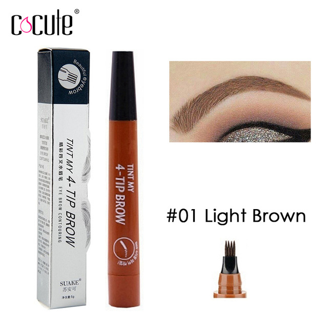 Microblading Eyebrow Pencil Tint 4 Tip Liquid Brow Tattoo Pen 5 Colors Paint Makeup Eyebrows Waterproof Cosmetic Eye brow Liner 3