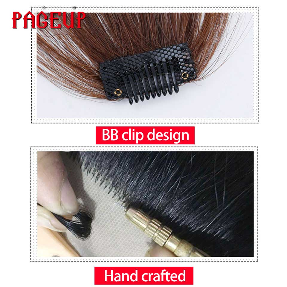 Pageup 6 Colors Synthetic Natural Front Bangs Hair pieces Clip In Fake Bangs For Women Clip In Hair Extensions Short Front Bangs (9)