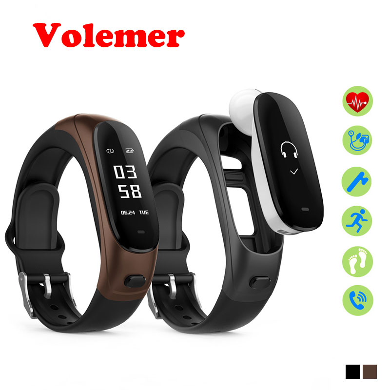 Volemer V08 Wireless Earphone Smart Band 2 in 1 Bluetooth Headset Wristband Heart Rate Blood Pressure Monitor Smart Bracelet b1 bluetooth 4 0 headset smart bracelet green
