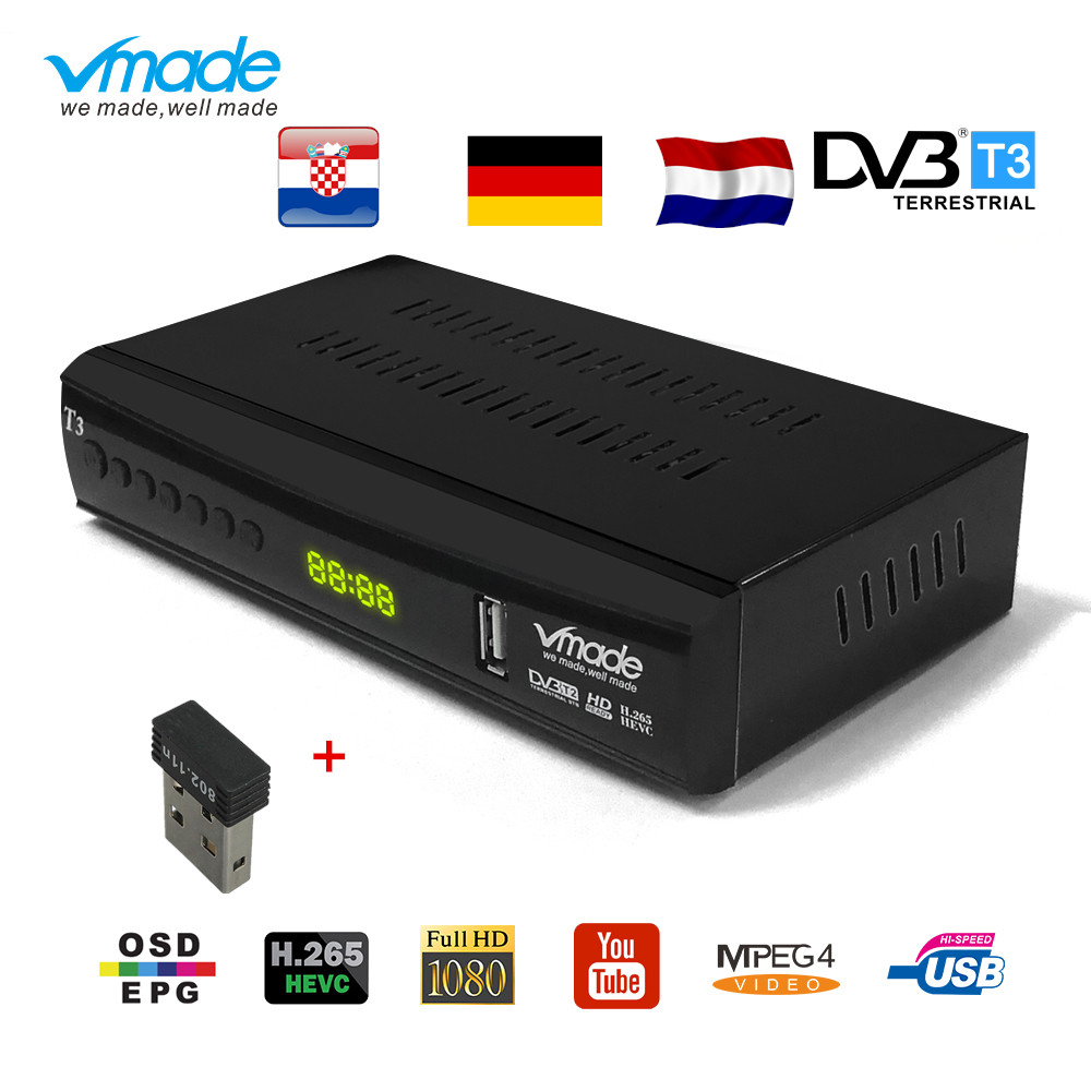 Newest DVB-T2 Digitale Receiver HD 1080P TV Tuner DVB T2 Terrestrial Receiver H.265 Support Youtube AC-3 DVB-T2 With USB WIFI