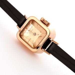 Image 3 - Julius unikalny kwadratowy mały Dial małe panie zegarki kobiety cienki skórzany pasek zegarki kwarcowe różowe złoto kobiet zegarek Montre Femme