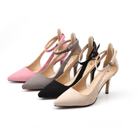Fashion 2018 Female Sandals Faux Suede Women S High Heel Shoes Pointed Toe Thin Heels Party