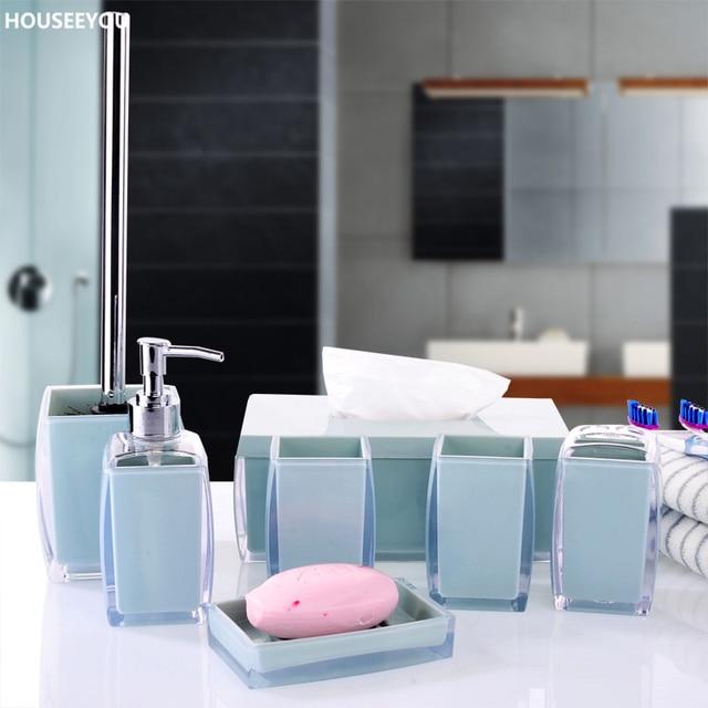 Bathroom Accessories Sets Simple Stylish Tissue Box Toothbrush Holder Toilet Brush Soap Dish Sprayer Bottle