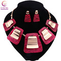 Mulheres 2016 cores boho vermelho resina declaração colar com brincos conjuntos de jóias para festa de casamento venda quente Da Moda colar