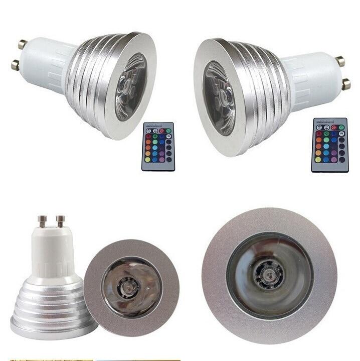 Bombilla RGB MR16/E27/GU10 foco LED 4W bombillas LED AC110 245V 24 teclas luces remotas IR para Bar en casa iluminación de fiesta lámpara LED RGB - 6