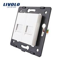 Производство Livolo, основание розетки/вилки для DIY продукта, 2 банды компьютерная розетка RJ45, VL-C7-2C-11