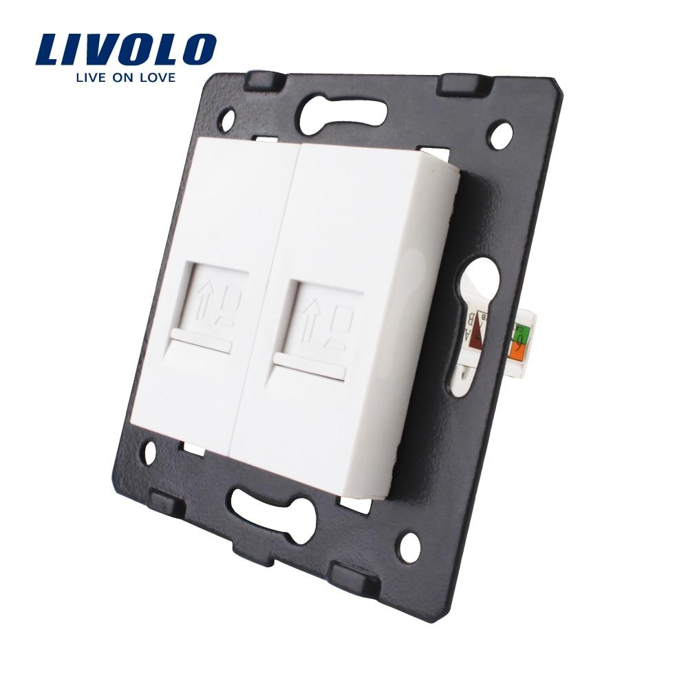 Fabricación Livolo, la Base del zócalo/del enchufe/enchufe para el producto de DIY, 2 Gangs Computer Socket VL-C7-2C-11