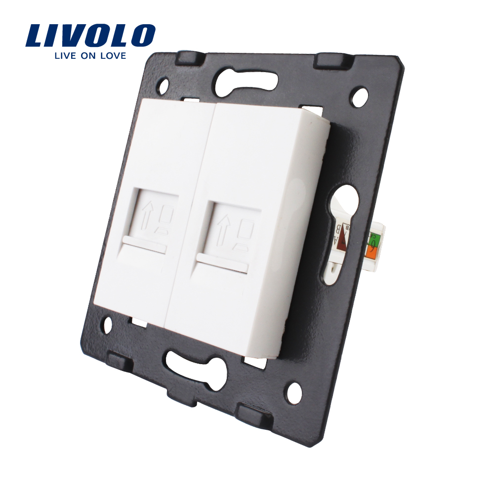 Manufacture Livolo,The Base Of  Socket /Outlet /Plug For DIY Product, 2 Gangs Computer Socket  RJ45 ,VL-C7-2C-11