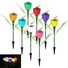 4Pcs Tulip Flower Landscape LED Light Solar Power Lamp for Garden / Lawn Random Colors