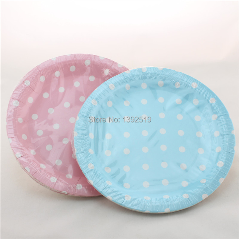 Free Shipping 240pcs 7  small Round Paper Plates Polka Dot Plates Baby Pink Yellow Green Baby Blue Red Black 6 Color to choose-in Disposable Party Tableware ... & Free Shipping 240pcs 7