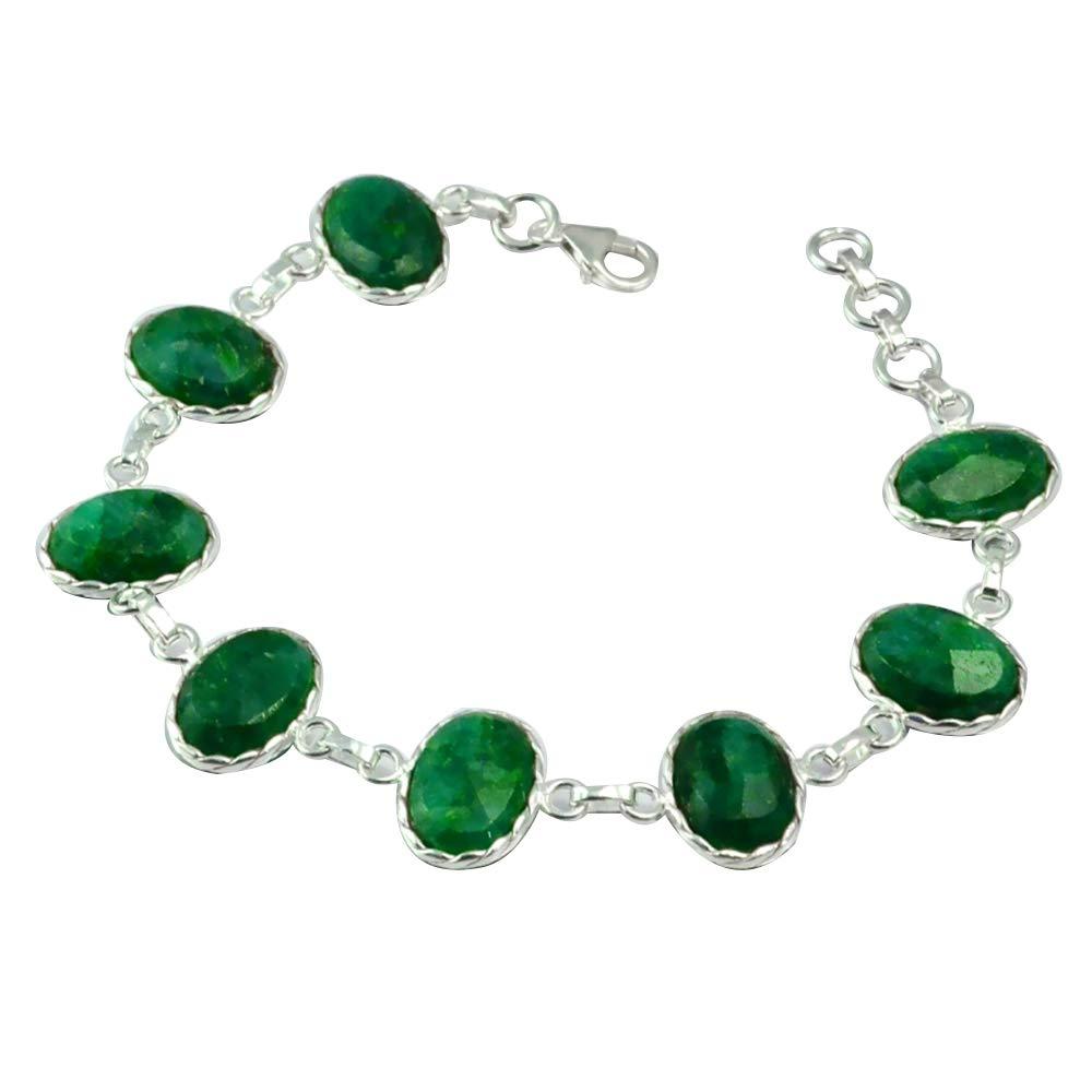 NiaoZaiFei YunZaiKan Genuine Emerald Bracelet 925 Sterling Silver, 21.5 cm, MHBBR0059NiaoZaiFei YunZaiKan Genuine Emerald Bracelet 925 Sterling Silver, 21.5 cm, MHBBR0059