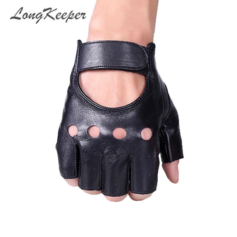 LongKeeper Half Finger Gloves Men PU Leather For Motocycle Fingerless Luva Military Tactical Gloves Men Women Guantes