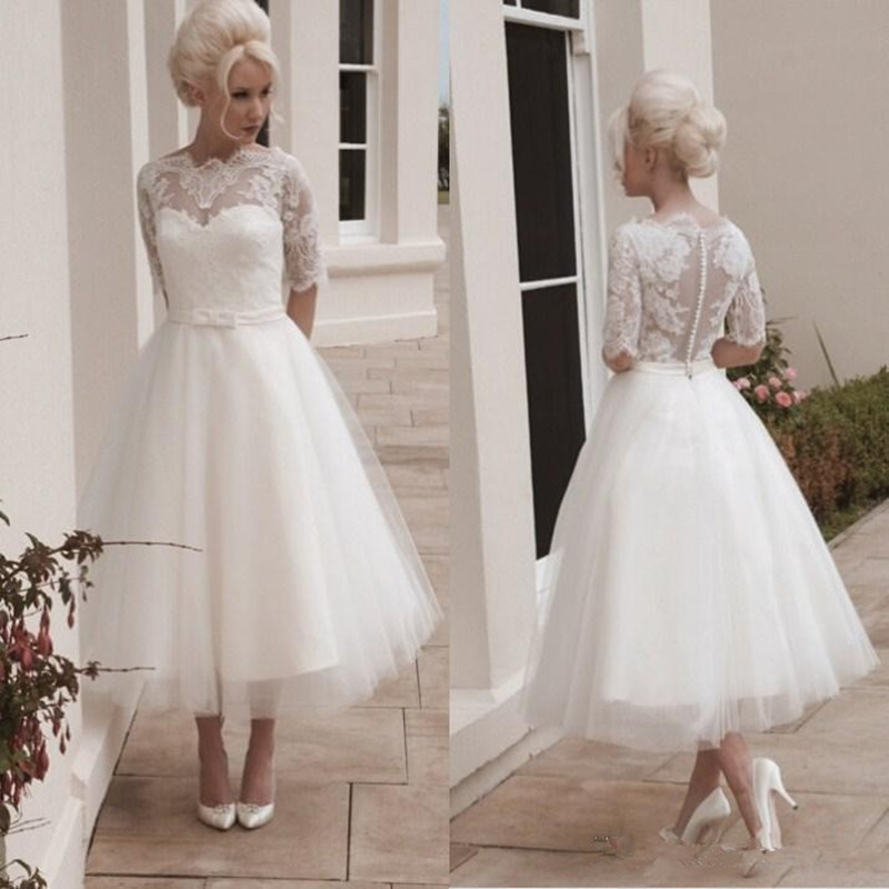 2017 wedding dresses a line crew chiffon covered buttons for Vintage wedding dresses tea length