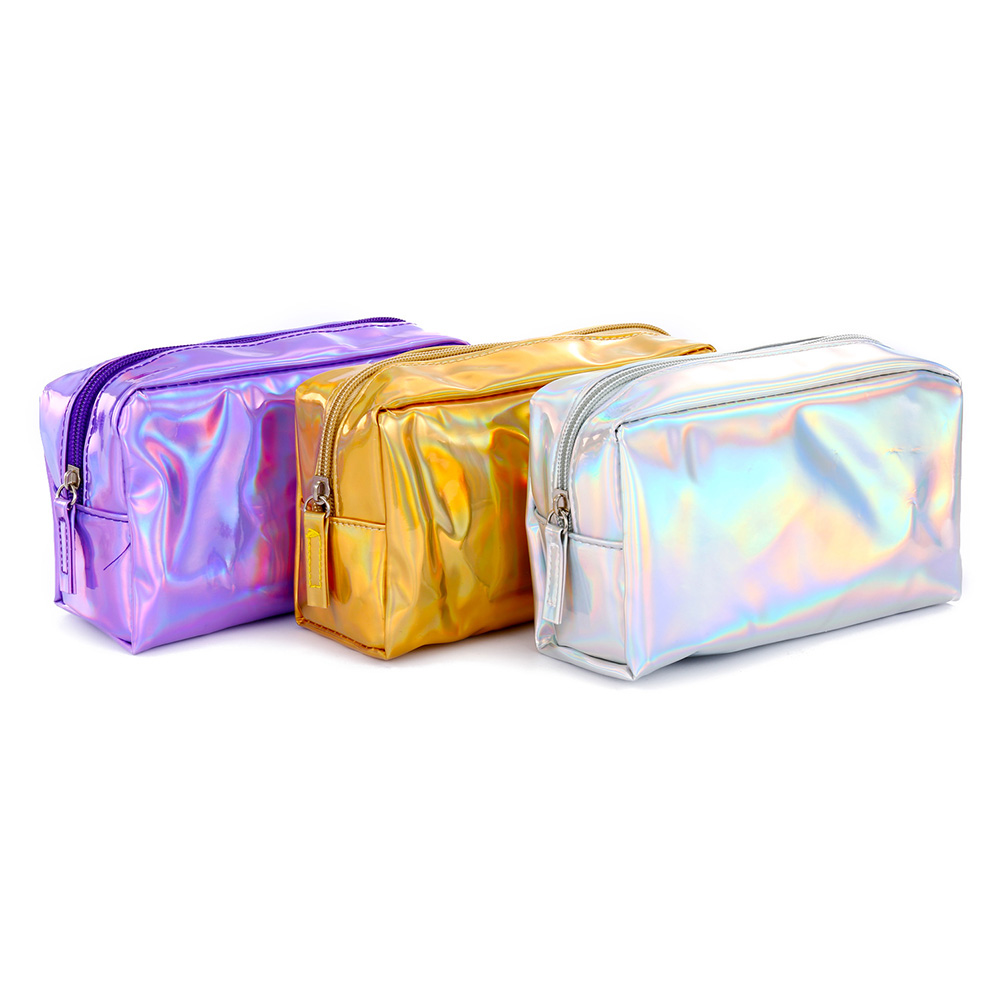 Holographic Pencil Case PU Cosmetic Pouch Storage Zipper Makeup Purse Bag LBY2018