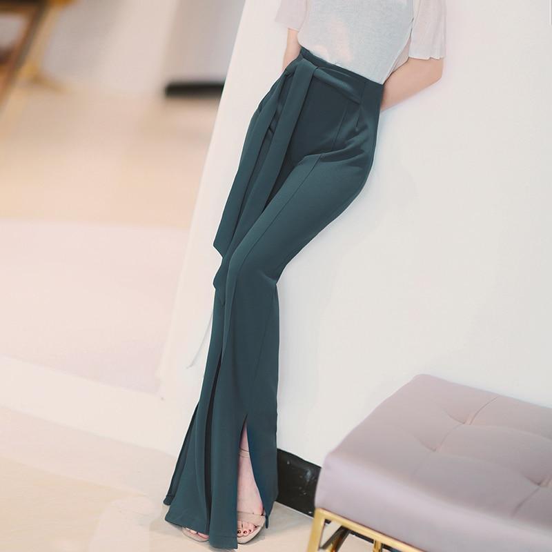 Spring new fashion Sexy Women Split flared   pants   female high waist   wide     leg     pants   Slim casual trousers Casual   Wide     Leg     Pants