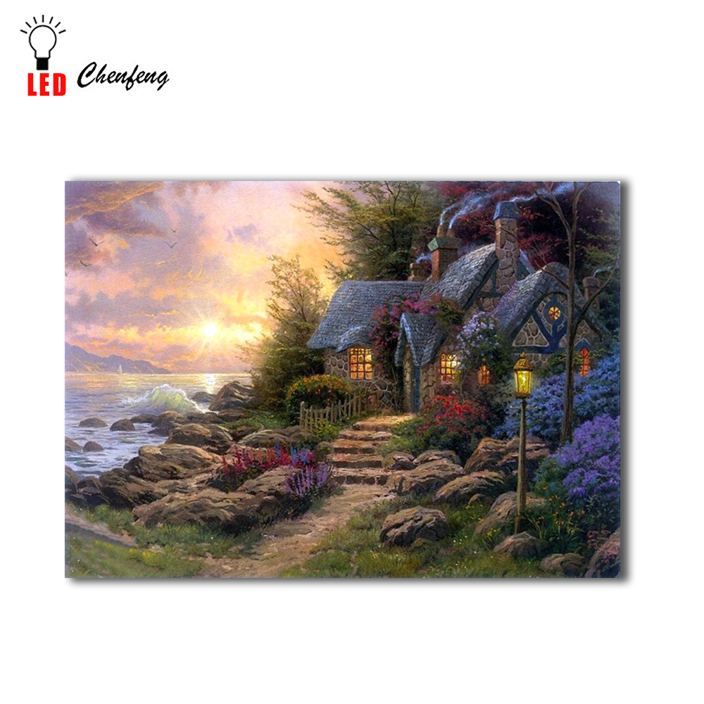 Home & Garden Lighted Canvas Print Seaside Hideaway Landscape Garden Cottage Oil Painting Christmas Canvas Wall Art Home Decor New Year Gift